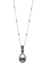 18K Tahitian Cultured Pearl Pendant With Diamond and Colorstone