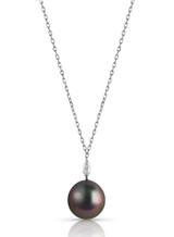 14KWG Marquise Shaped Diamond Tahitian Drop Cultured Pearl Pendant