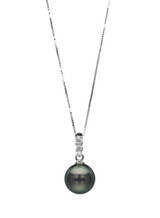 14K Three Diamonds Tahitian Pearl Pendant