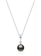 Classic 14KWG Tahitian Cultured Pearl And Diamond Pendant