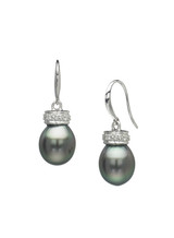 14K Drop Tahitian Cultured Pearl And Diamond Earrings