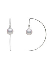 14KWG Akoya Pearl Hoop Earrings