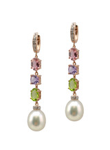 14KRG Champagne South Sea Cultured Pearl With Colored Stone Earrings