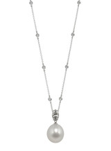 18KWG White South Sea Cultured Pearl Diamond Pendant