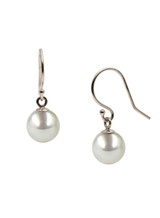 14K White Gold Akoya Cultured Pearl Hook Earrings