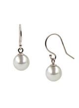 14K White Gold Akoya Cultured Pearl Hook Earrings