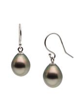 Basic 18KWG Tahitian South Sea Cultured Pearl Shepherd Hook Earrings