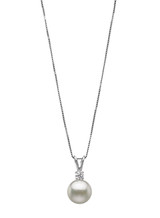 14KWG Simple Diamond Bunny Ear Pendant with Akoya Cultured Pearl