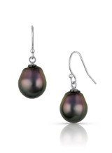 14K White Gold Tahitian Circle Cultured Pearl Hook Earrings