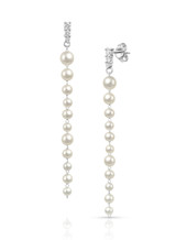 14K Baby Akoya Pearl Long Dangle Earrings