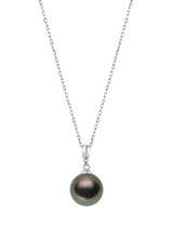Basic 14KWG Round Tahitian Cultured Pearl And Diamond Pendant