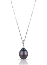 Basic 14KWG Circle Tahitian Cultured Pearl And Diamond Pendant