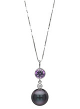 14K Tahitian Cultured Pearl Pendant With Big Purple Sapphire And Diamond Accents