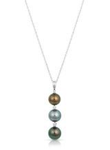 14K Tahitian Cultured Pearl And Diamond Drop Pendant