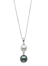 14K Tahitian & Freswater Cultured Pearl And Diamond Drop Pendant