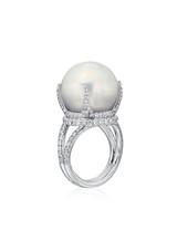 18K Big White South Sea Cultured Pearl Diamond Ring