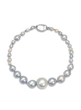 Akoya & White South Sea Pearl Bracelet with Sterling Silver Clasp