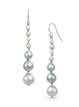 Natural Color Akoya Pearl Long Dangle Sterling Silver Earrings