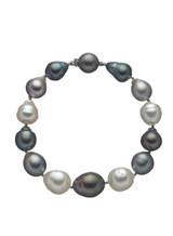 Tahitian and White South Sea Multicolor Pearl Bracelet