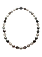 Tahitian and White South Sea Multicolor Circle Pearl Necklace