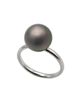 14k Tahitian Pearl Simple Confort Fit Ring