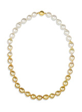 White and Golden South Sea Drop Pearl Color Graduation Necklace