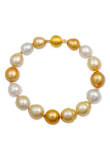 Multicolor Golden and White South Sea Drop Circle Pearl Bracelet