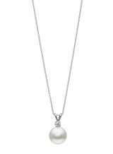 18KWG Simple Diamond Bunny Ear Pendant with White South Sea Cultured Pearl