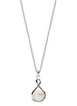 Sterling Silver Twisted Drop Shaped Pendant with Freshwater Pearl
