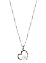 Sterling Silver Heart Shaped Pendant with Freshwater Pearl