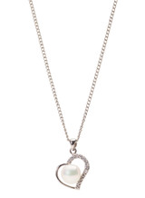 Sterling Silver Heart Shaped Pendant with Freshwater Pearl and Diamond