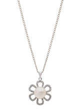 Sterling Silver Flower Shaped Pendant with Freshwater and Cubic Zirconia