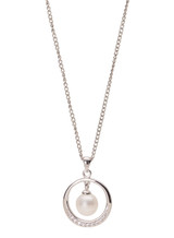 Sterling Silver Circle Pendant with Freshwater Pearl and Sapphire Accents