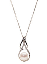 Sterling Silver Double Pear Shaped Pendant with Freshwater Pearl and Cubic Zirconia