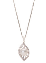 Sterling Silver Marquise Shaped Pendant with Freshwater Pearl and Cubic Zirconia