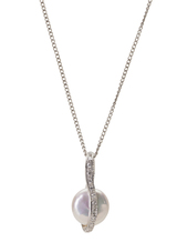 Sterling Silver Coin Shaped Pendant with Freshwater Pearl and Cubic Zirconia