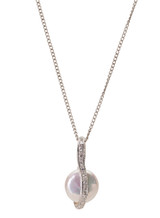 Sterling Silver Coin Shaped Pendant with Freshwater Pearl and White Sapphire