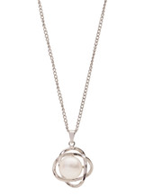 Sterling Silver Petal Shaped Pendant with Freshwater Pearl