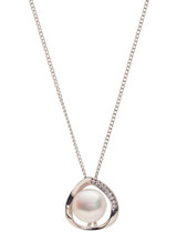Sterling Silver Off Shaped Oval Pendant with Freshwater Pearl and Sapphire