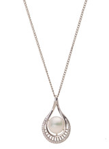 Sterling Silver Pear Shaped Pendant with Freshwater Pearl and Cubic Zirconia