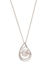 Sterling Silver Skewed Double Pear Shaped Pendant with Freshwater Pearl and Cubic Zirconia