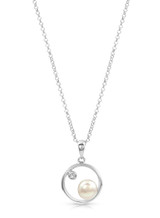 Sterling Silver Circle Shaped Pendant with Freshwater Pearl and Topaz
