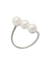 Sterling Silver 3 Freshwater Pearls Ring