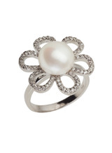 Sterling Silver Six Loops Flower Shaped Ring with Freshwater Pearl and Cubic Zirconia