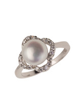 Sterling Silver Petal Shaped Ring with Freshwater Pearl and Cubic Zirconia