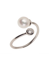 Sterling Silver Bypass Ring with Freshwater Pearl and Single Cubic Zirconia