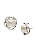 Sterling Silver Petal Shaped Earrings with Freshwater Pearls