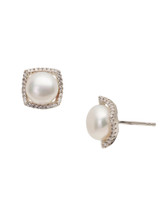 Sterling Silver Square Shaped Earrings with Freshwater Pearls and Sapphire
