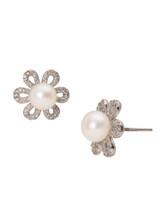 Sterling Silver Flower Shaped Earrings with Freshwater Pearls and Cubic Zirconia