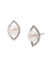 Sterling Silver Marquise Shaped Earrings with Freshwater Pearls and Sapphire